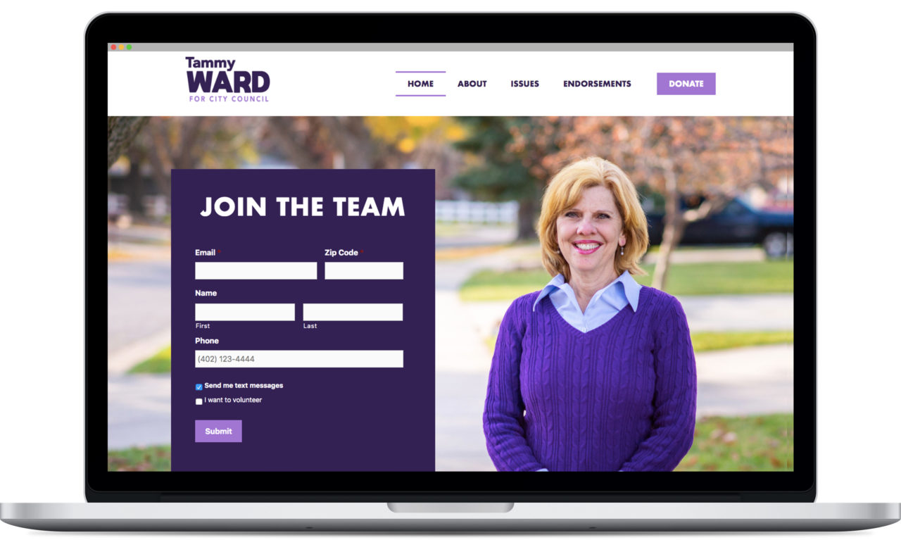 Tammy Ward for City Council website mock up on computer