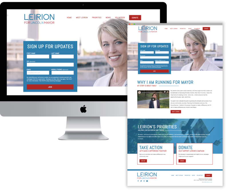 Leirion Website Homepage Mock Up